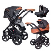 Coto Baby Quara carucior nou nascuti 3in1, Eco Dark grey brown.01